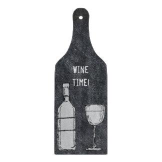 Wine Time Chalkboard Wine Bottle & Glass Cutting Board