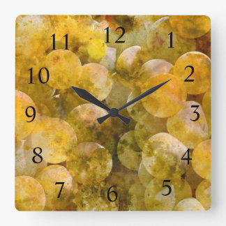 Wine Time - Chardonnay Grapes on the Vine Square Wall Clock