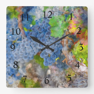 Wine Time - Grapes on the Vine Square Wall Clock