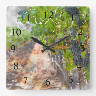 Wine Time in Napa Valley California Square Wall Clock