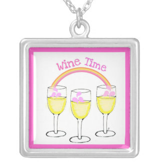 """""""WINE TIME"""" RAINBOW AND WINE GLASSES PRINT SQUARE PENDANT NECKLACE"""