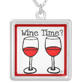 """WINE TIME?"" RED WINE GLASSES PRINT SQUARE PENDANT NECKLACE"