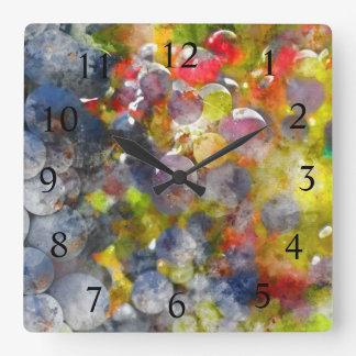 Wine Time - Red Wine Grapes on the Vine Square Wall Clock