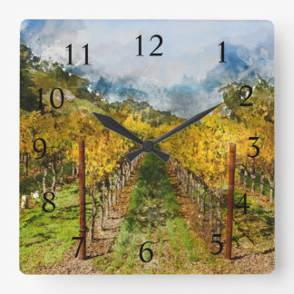 Wine Time Vineyard in Napa Valley California Square Wall Clock