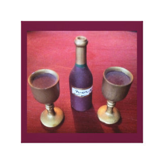 Wine Time Whimsical Wine Bottle and Goblets Canvas Print