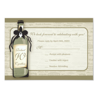 Wine Varietal and Whimsical Bottle RSVP Card 9 Cm X 13 Cm Invitation Card