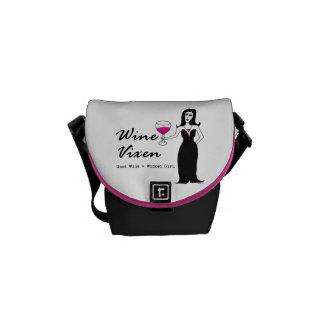 """Wine Vixen """"Good Wine = Wicked Girl"""" Messenger Bags"""