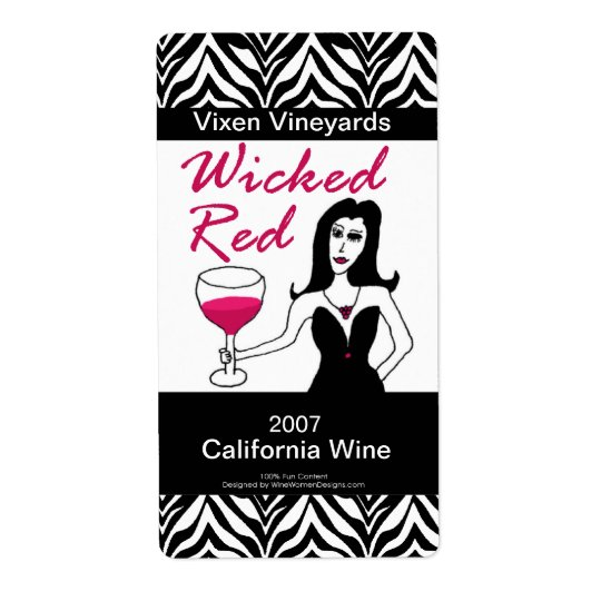 Wine Vixen Wicked Red Custom Faux Wine Labels