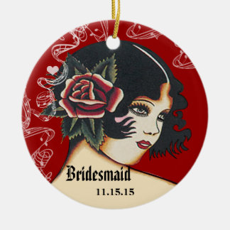 Wine Wedding Gown Bridesmaid Christmas Ornament