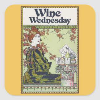 Wine wednesday square sticker
