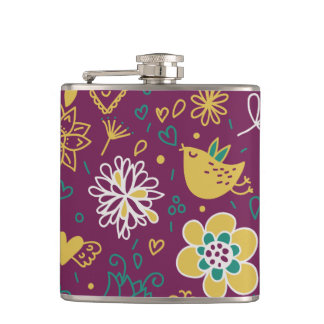 Wine Whimsical Birds and Flowers Flasks