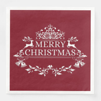 Wine & White Merry Christmas Paper Napkins