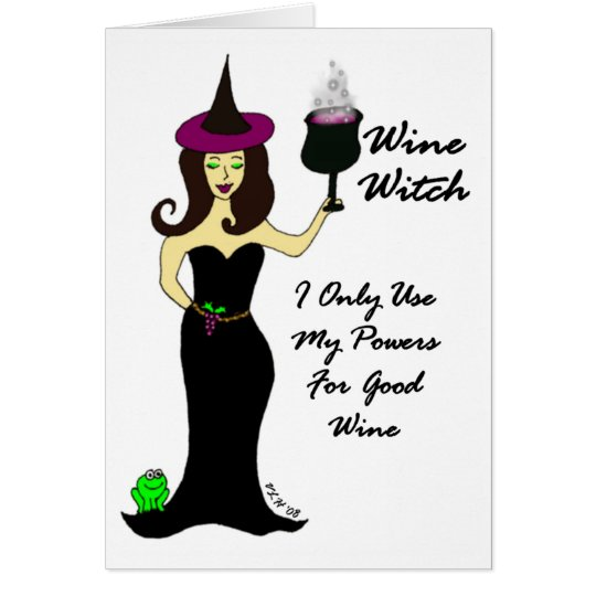 Wine Witch Halloween Card