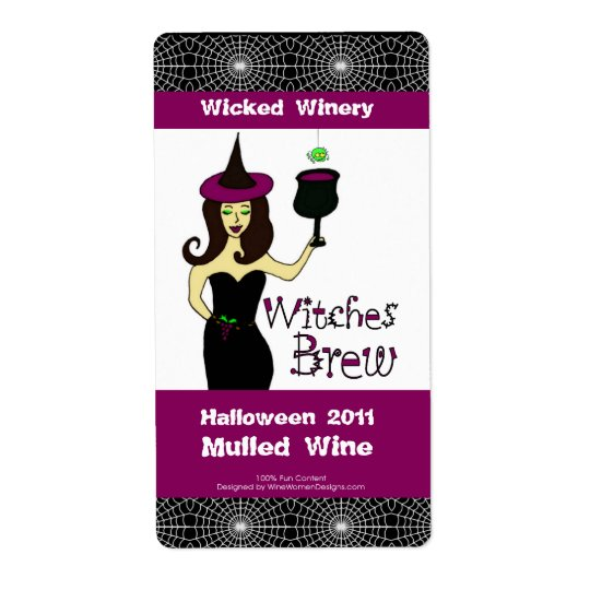 "Wine Witch ""Witches Brew"" Halloween Wine Labels"