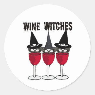 WINE WITCHES RED WINE GLASS WITCH PRINT ROUND STICKER