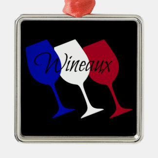 Wineaux French Flag Wine Glass Trio Christmas Ornament