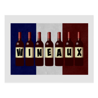 Wineaux Wine Bottles French Flag Postcard