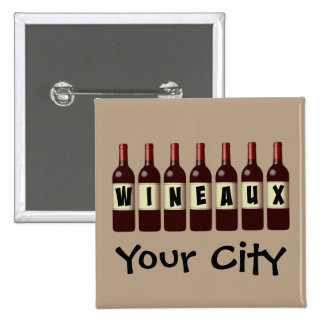 Wineaux Wine Bottles Lineup Customizable 15 Cm Square Badge