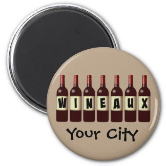 Wineaux Wine Bottles Lineup Customizable 6 Cm Round Magnet