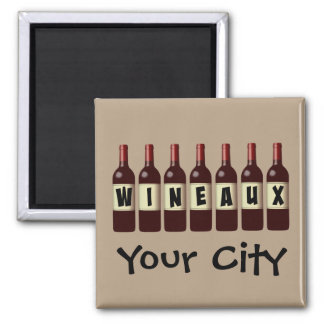 Wineaux Wine Bottles Lineup Customizable Square Magnet
