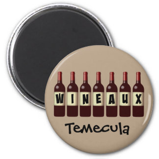 Wineaux Wine Bottles Lineup Temecula 6 Cm Round Magnet