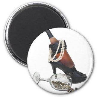 WineBottleHeelsPearlsAndStars010212 6 Cm Round Magnet