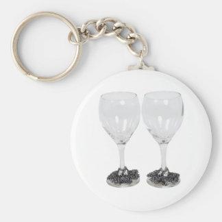 WineGlassesGrapes110709 copy Basic Round Button Key Ring