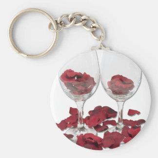 WineGlassRosePedals Basic Round Button Key Ring