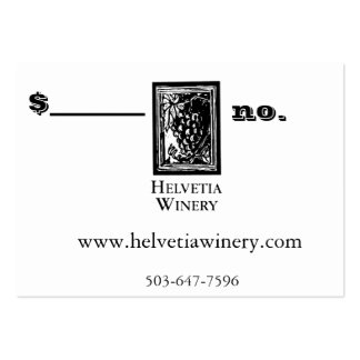 Winery Gift Card take 2 Pack Of Chubby Business Cards
