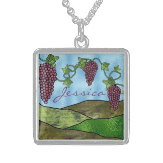Winery Scene Stained Glass Design Sterling Silver Square Pendant Necklace