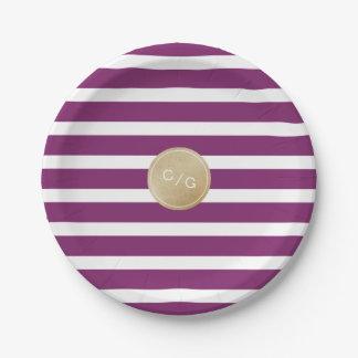 Winery stripes simple modern wedding monogram paper plate