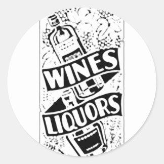 Wines & Liquors White Round Sticker