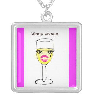 WINEY WOMAN WINE GLASS PRINT SQUARE PENDANT NECKLACE