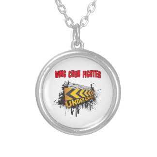 Wing Chun Fighter Under Construction Round Pendant Necklace