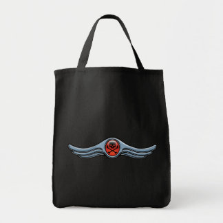 Wing Skull Chrome Grocery Tote Bag