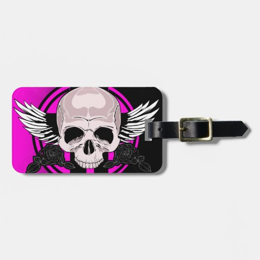 Wing Skull - PINK Tag For Bags