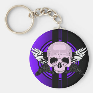 Wing Skull - PURPLE Basic Round Button Key Ring
