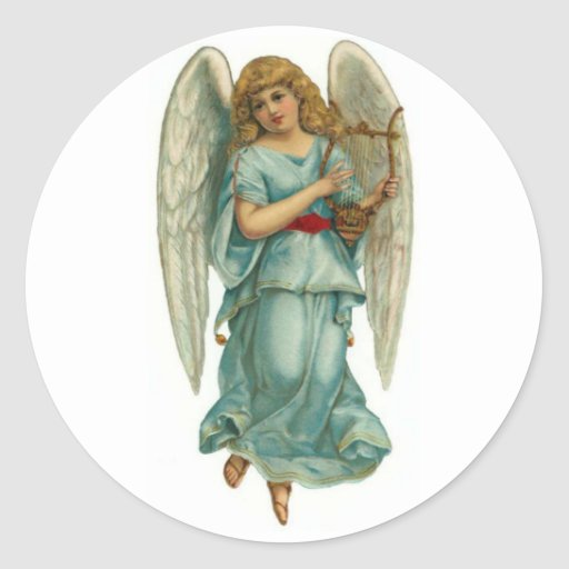 Winged Angel and Harp Round Stickers
