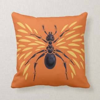 Winged Ant Fiery Orange Cushion