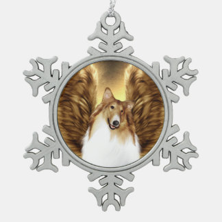 Winged Collie Angel Portrait on Gold Snowflake Pewter Christmas Ornament