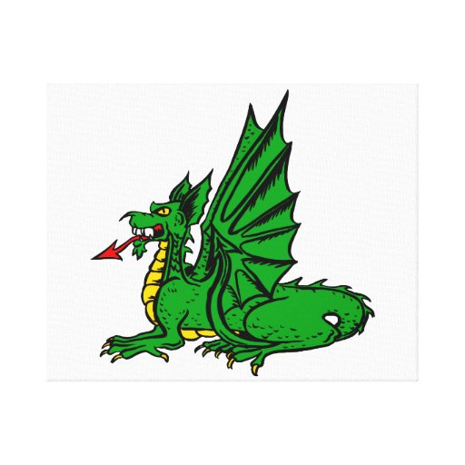 Winged dragon red tongue side.png stretched canvas prints