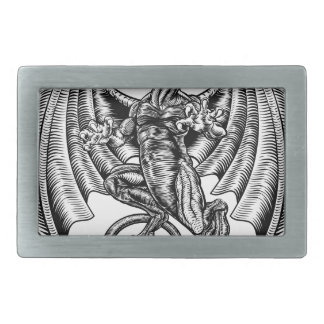 Winged Dragon Woodcut Belt Buckles
