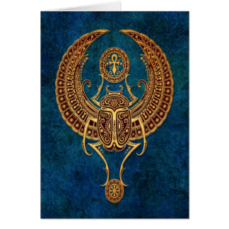 Winged Egyptian Scarab Beetle with Ankh - blue Card