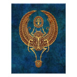 Winged Egyptian Scarab Beetle with Ankh - blue Personalized Announcements