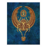 Winged Egyptian Scarab Beetle with Ankh - blue 11 Cm X 14 Cm Invitation Card
