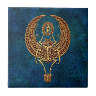 Winged Egyptian Scarab Beetle with Ankh - blue Tile