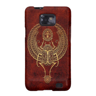 Winged Egyptian Scarab Beetle with Ankh - brown Galaxy SII Cases