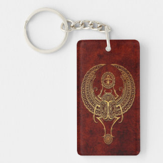 Winged Egyptian Scarab Beetle with Ankh - brown Key Ring