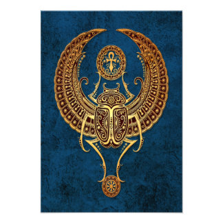 Winged Egyptian Scarab Beetle with Ankh on Blue Invitation