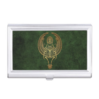 Winged Egyptian Scarab Beetle with Ankh on Green Business Card Holder